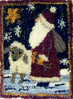Miniature Punch Needle Rug - Shepard Santa