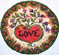 Miniature Punch Needle Rug - Victorian Heart