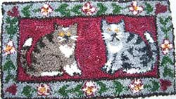 Miniature Punch Needle Rug - Cat Couple