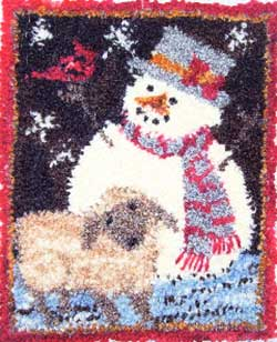 Miniature Punch Needle Rug - Shepard Snowman