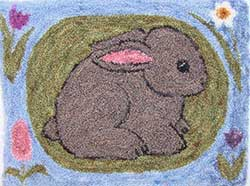 Miniature Punch Needle Rug - Springtime Bunny
