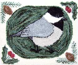Miniature Punch Needle Rug - Maine Chickadee