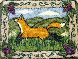 Miniature Punch Needle Rug - Fox and Grapes