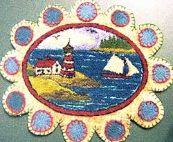 Miniature Punch Needle Rug - Lighthouse Scene