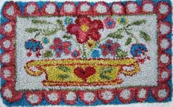 Miniature Punch Needle Rug - Folk Art Basket