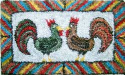 Miniature Punch Needle Rug - Roosters