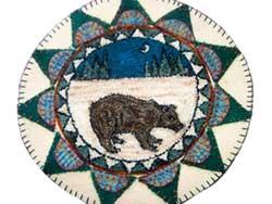 Miniature Punch Needle Rug - Bear