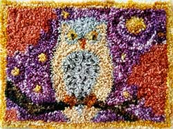 Miniature Punch Needle Rug - Night Owl
