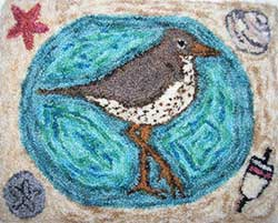 Miniature Punch Needle Rug - Summer Sandpiper