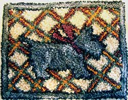 Miniature Punch Needle Rug - Scottie Dog