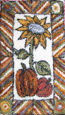 Miniature Punch Needle Rug - Autumn Sunflower