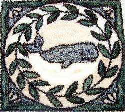 Miniature Punch Needle Rug - Nantucket Whale